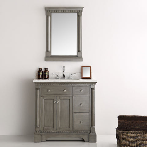 "Image of Fresca Kingston 37"" Antique Silver Traditional Bathroom Vanity with Mirror"