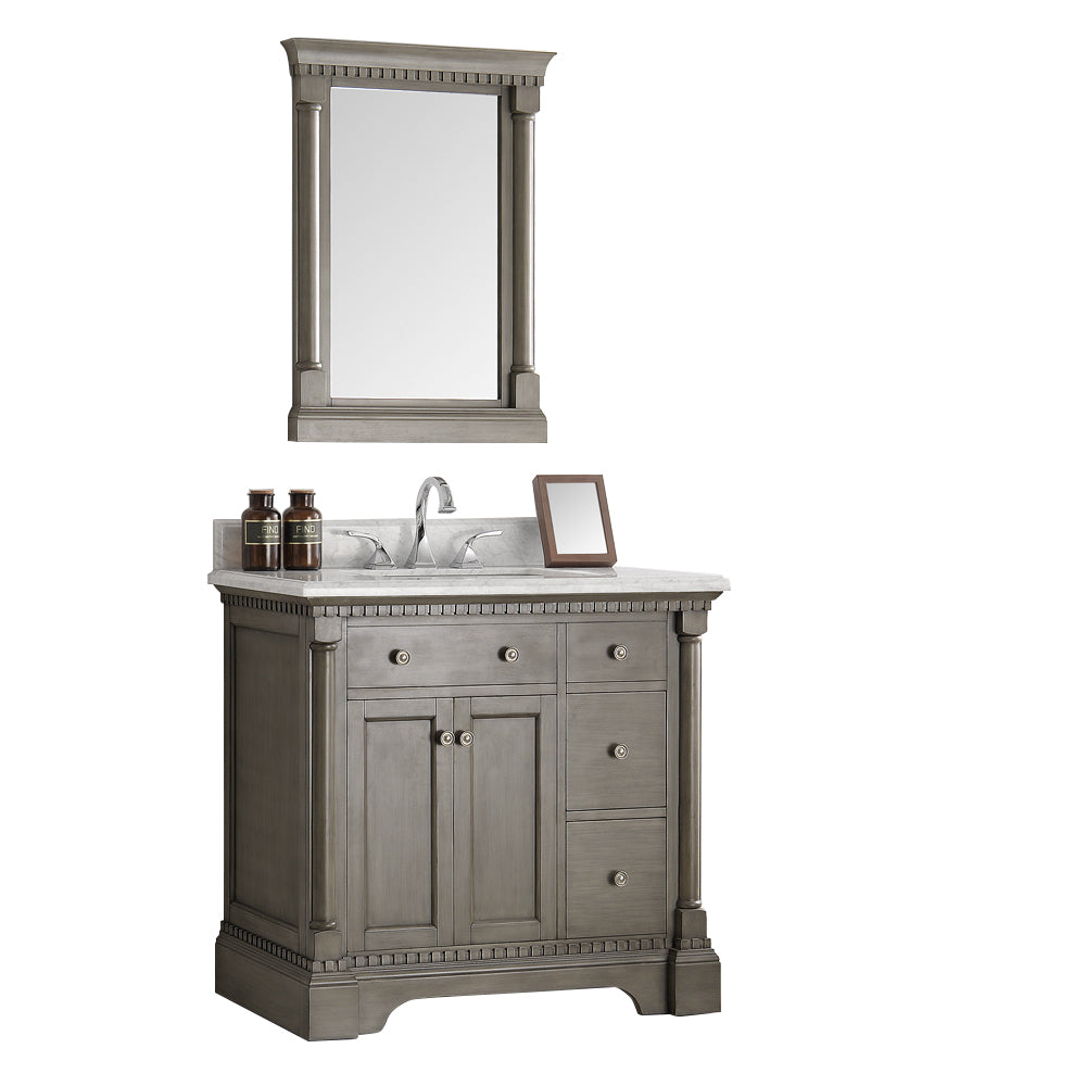 "Fresca Kingston 37"" Antique Silver Traditional Bathroom Vanity with Mirror"