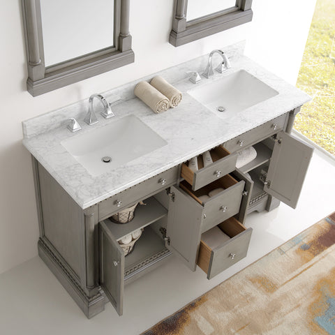 "Image of Fresca Kingston 61"" Antique Silver Double Sink Traditional Bathroom Vanity with Mirrors"