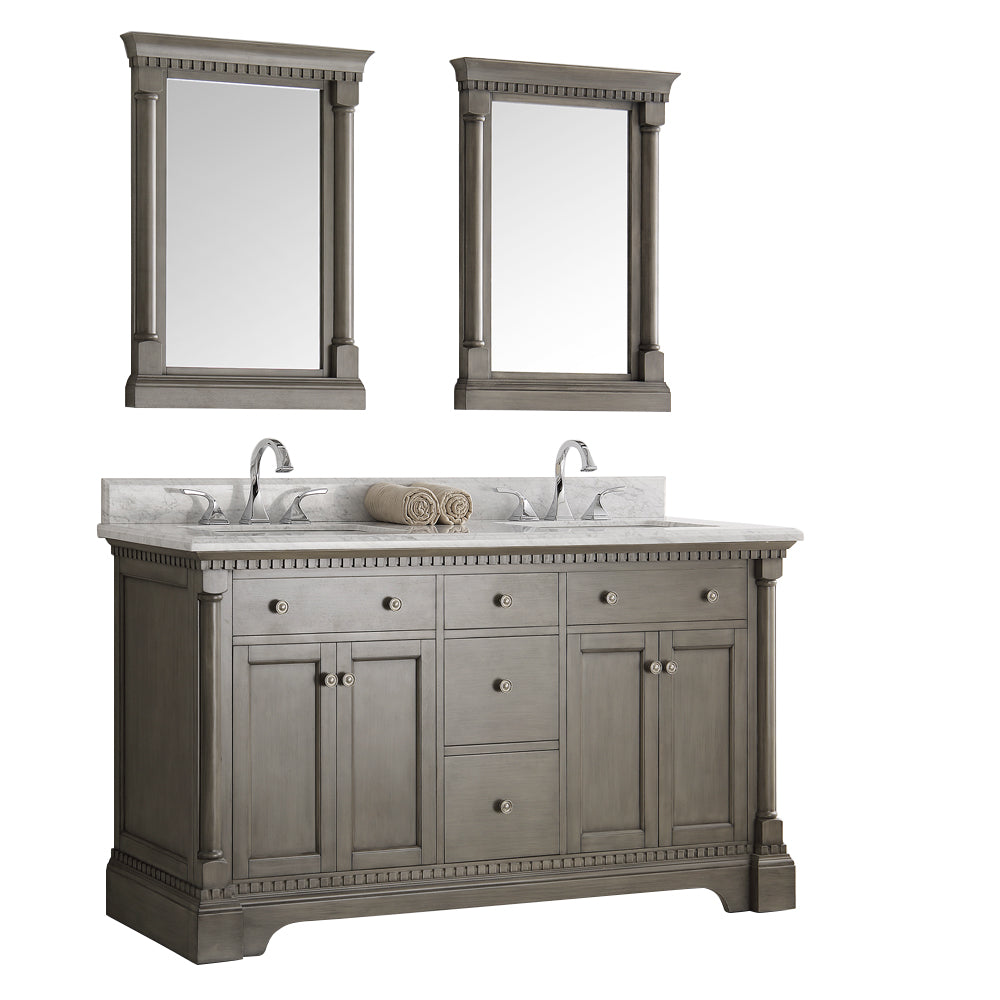 "Fresca Kingston 61"" Antique Silver Double Sink Traditional Bathroom Vanity with Mirrors"