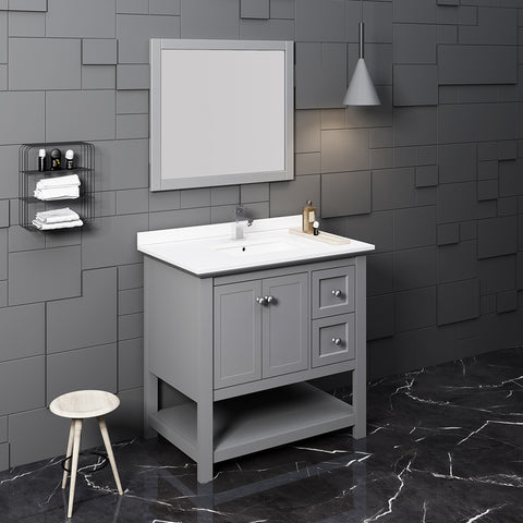 "Fresca Manchester 36"" Gray Traditional Bathroom Vanity w/ Mirror"
