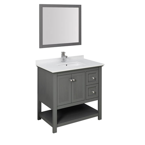 "Fresca Manchester Regal 36"" Gray Wood Veneer Traditional Bathroom Vanity w/ Mirror"