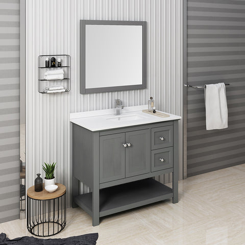 "Fresca Manchester Regal 42"" Gray Wood Veneer Traditional Bathroom Vanity w/ Mirror"