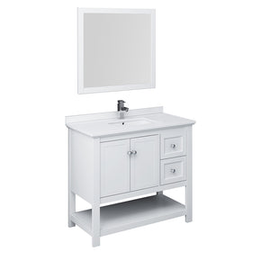 "Fresca Manchester 42"" White Traditional Bathroom Vanity w/ Mirror"
