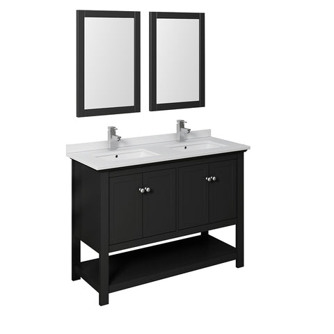 "Fresca Manchester 48"" Black Traditional Double Sink Bathroom Vanity w/ Mirrors"