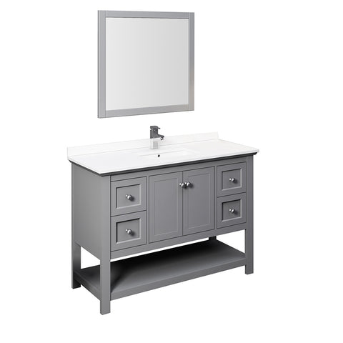 "Fresca Manchester 48"" Gray Traditional Bathroom Vanity w/ Mirror"