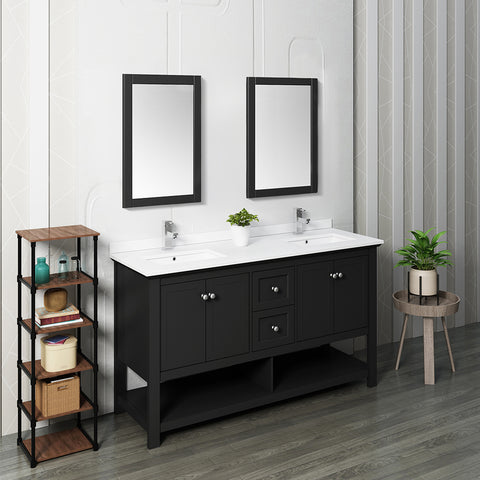 "Fresca Manchester 60"" Black Traditional Double Sink Bathroom Vanity w/ Mirrors"