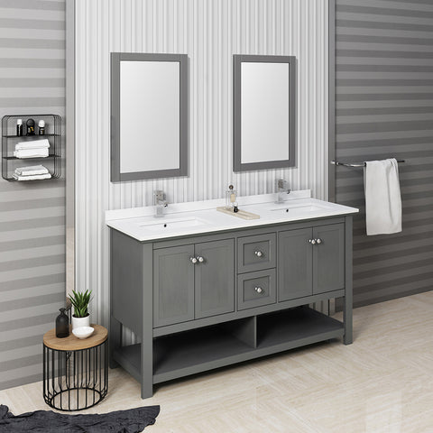 "Fresca Manchester Regal 60"" Gray Wood Veneer Traditional Double Sink Bathroom Vanity w/ Mirrors"