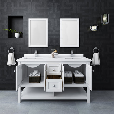 "Fresca Manchester 60"" White Traditional Double Sink Bathroom Vanity w/ Mirrors"