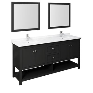 "Fresca Manchester 72"" Black Traditional Double Sink Bathroom Vanity w/ Mirrors"