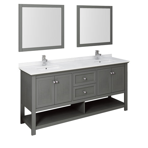 "Fresca Manchester Regal 72"" Gray Wood Veneer Traditional Double Sink Bathroom Vanity w/ Mirrors"