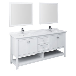 "Fresca Manchester 72"" White Traditional Double Sink Bathroom Vanity w/ Mirrors"