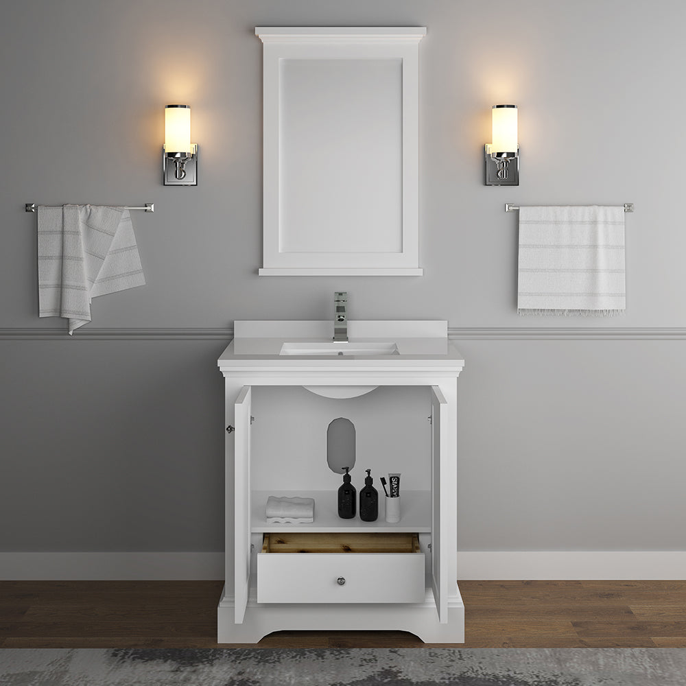 "Fresca Windsor 30"" Matte White Traditional Bathroom Vanity with Mirror"