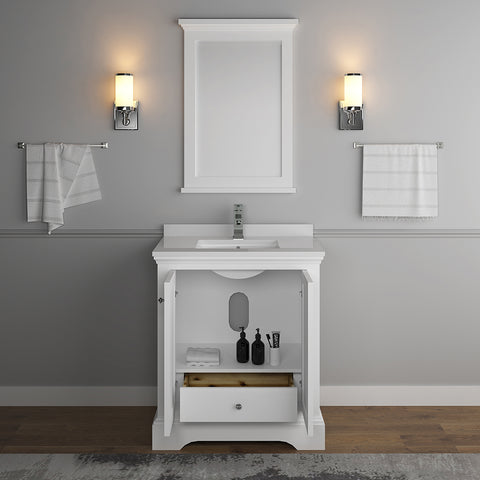 "Image of Fresca Windsor 30"" Matte White Traditional Bathroom Vanity with Mirror"