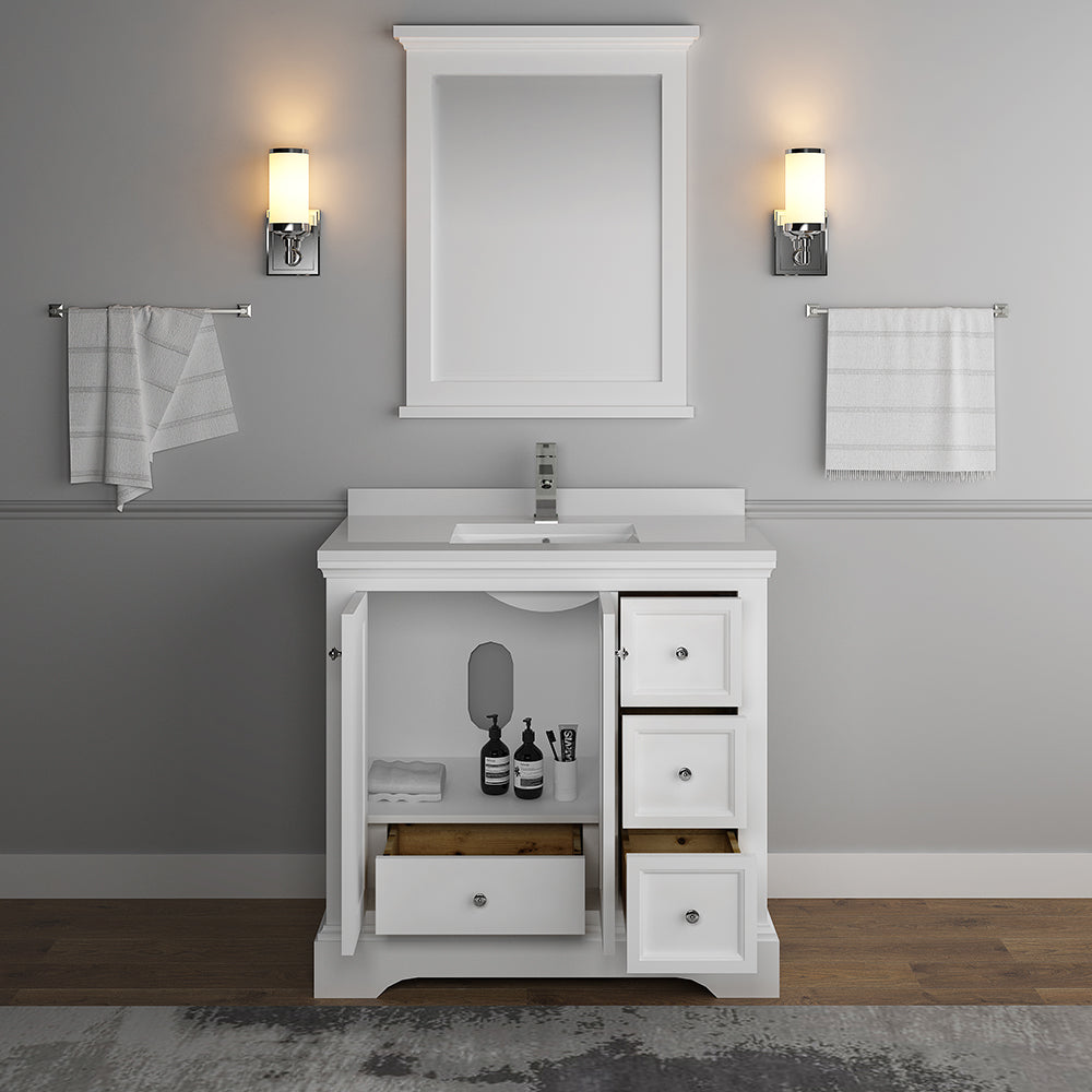 "Fresca Windsor 36"" Matte White Traditional Bathroom Vanity with Mirror"