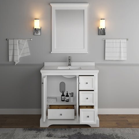 "Image of Fresca Windsor 36"" Matte White Traditional Bathroom Vanity with Mirror"