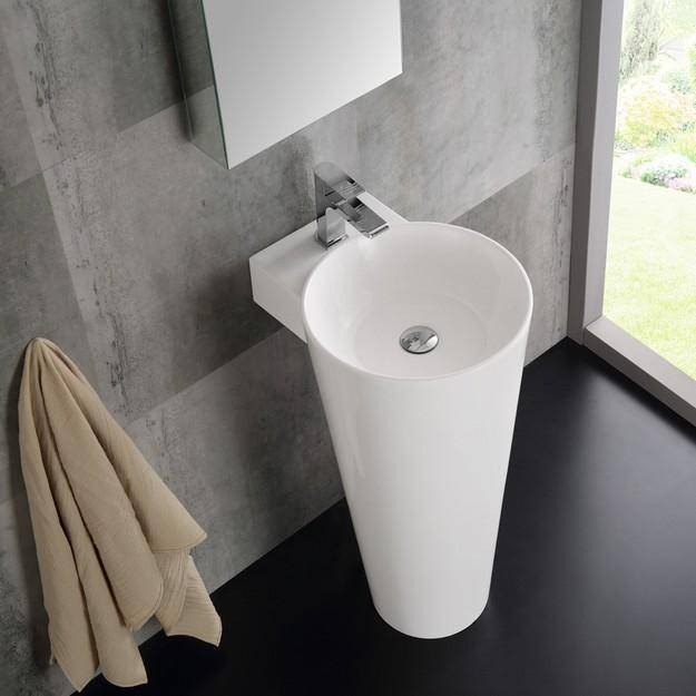 "Fresca Messina 16"" White Pedestal Sink with Medicine Cabinet - Modern Bathroom Vanity"