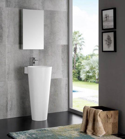 "Image of Fresca Messina 16"" White Pedestal Sink with Medicine Cabinet - Modern Bathroom Vanity"
