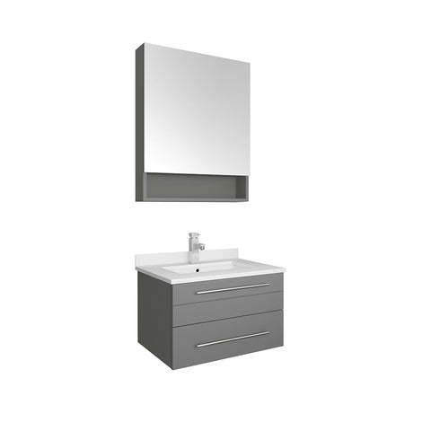 "Image of Fresca Lucera 24"" Gray Wall Hung Undermount Sink Modern Bathroom Vanity w/ Medicine Cabinet"