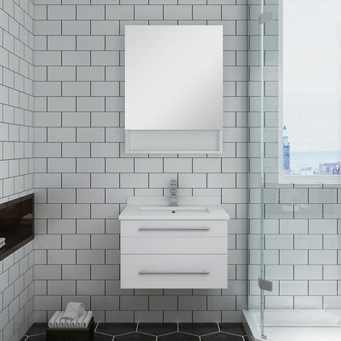 "Image of Fresca Lucera 24"" White Wall Hung Undermount Sink Modern Bathroom Vanity w/ Medicine Cabinet"