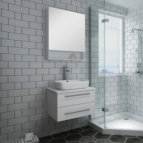 "Image of Fresca Lucera 24"" White Wall Hung Vessel Sink Modern Bathroom Vanity w/ Medicine Cabinet"
