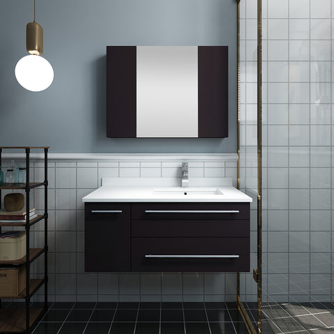 "Image of Fresca Lucera 36"" Espresso Wall Hung Undermount Sink Modern Bathroom Vanity w/ Medicine Cabinet - Right Version"