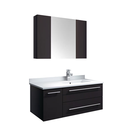 "Fresca Lucera 36"" Espresso Wall Hung Undermount Sink Modern Bathroom Vanity w/ Medicine Cabinet - Right Version"