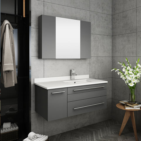 "Fresca Lucera 36"" Gray Wall Hung Undermount Sink Modern Bathroom Vanity w/ Medicine Cabinet - Right Version"