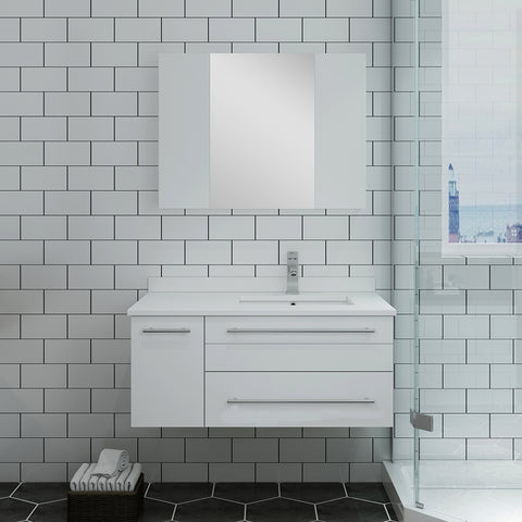 "Image of Fresca Lucera 36"" White Wall Hung Undermount Sink Modern Bathroom Vanity w/ Medicine Cabinet - Right Version"
