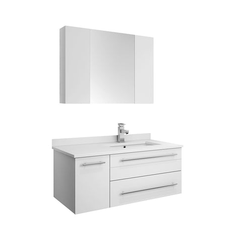 "Fresca Lucera 36"" White Wall Hung Undermount Sink Modern Bathroom Vanity w/ Medicine Cabinet - Right Version"