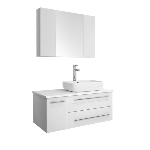 "Fresca Lucera 36"" White Wall Hung Vessel Sink Modern Bathroom Vanity w/ Medicine Cabinet - Right Version"