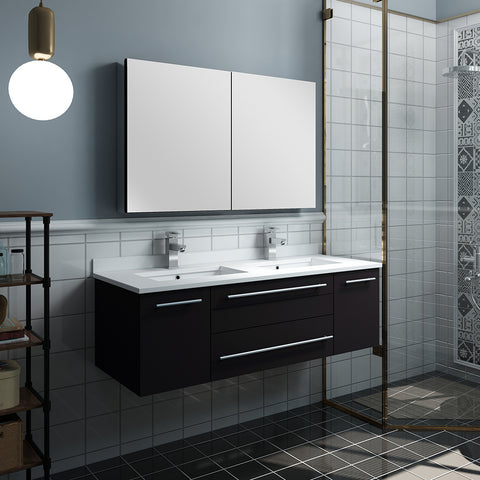 "Image of Fresca Lucera 48"" Espresso Wall Hung Double Undermount Sink Modern Bathroom Vanity w/ Medicine Cabinet"