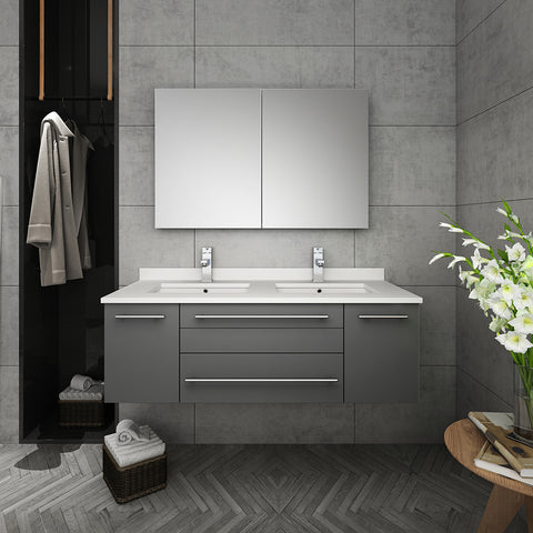 "Image of Fresca Lucera 48"" Gray Wall Hung Double Undermount Sink Modern Bathroom Vanity w/ Medicine Cabinet"