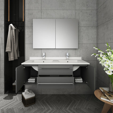 "Fresca Lucera 48"" Gray Wall Hung Double Undermount Sink Modern Bathroom Vanity w/ Medicine Cabinet"