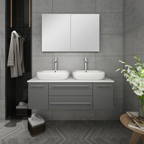 "Fresca Lucera 48"" Gray Wall Hung Double Vessel Sink Modern Bathroom Vanity w/ Medicine Cabinet"