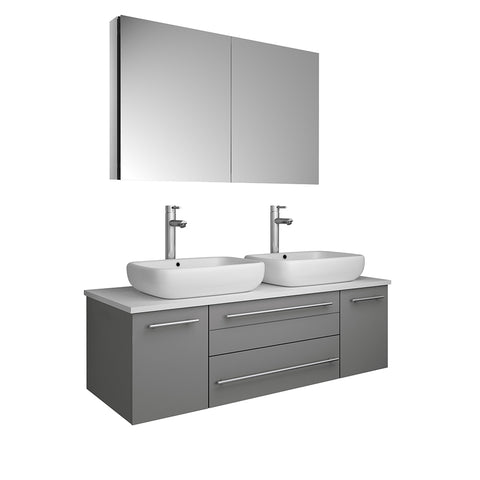 "Image of Fresca Lucera 48"" Gray Wall Hung Double Vessel Sink Modern Bathroom Vanity w/ Medicine Cabinet"