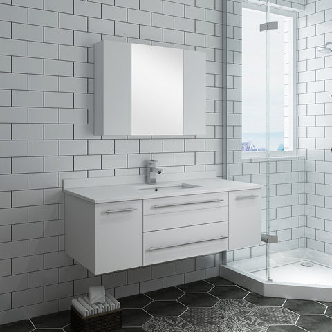"Image of Fresca Lucera 48"" White Wall Hung Undermount Sink Modern Bathroom Vanity w/ Medicine Cabinet"