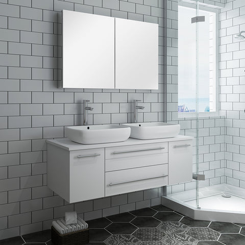 "Image of Fresca Lucera 48"" White Wall Hung Double Vessel Sink Modern Bathroom Vanity w/ Medicine Cabinet"