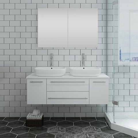 "Fresca Lucera 48"" White Wall Hung Double Vessel Sink Modern Bathroom Vanity w/ Medicine Cabinet"