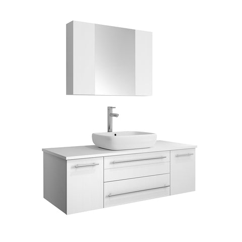 "Image of Fresca Lucera 48"" White Wall Hung Vessel Sink Modern Bathroom Vanity w/ Medicine Cabinet"