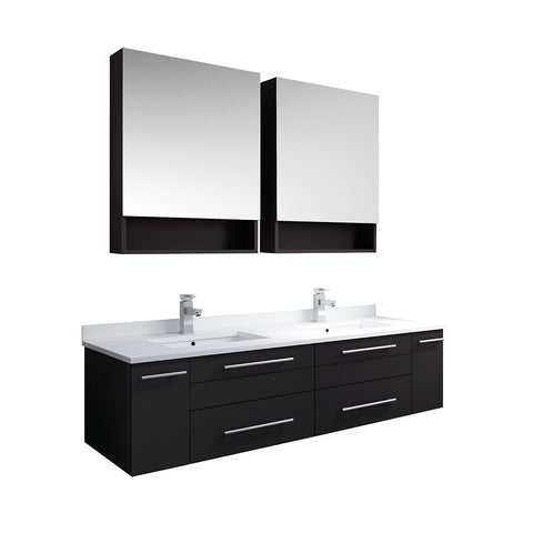 "Image of Fresca Lucera 60"" Espresso Wall Hung Double Undermount Sink Modern Bathroom Vanity w/ Medicine Cabinets"