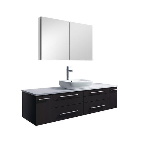 "Fresca Lucera 60"" Espresso Wall Hung Single Vessel Sink Modern Bathroom Vanity w/ Medicine Cabinet"