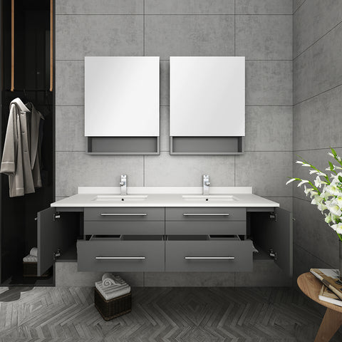 "Fresca Lucera 60"" Gray Wall Hung Double Undermount Sink Modern Bathroom Vanity w/ Medicine Cabinets"