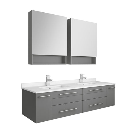"Image of Fresca Lucera 60"" Gray Wall Hung Double Undermount Sink Modern Bathroom Vanity w/ Medicine Cabinets"