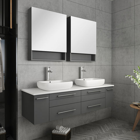 "Fresca Lucera 60"" Gray Wall Hung Double Vessel Sink Modern Bathroom Vanity w/ Medicine Cabinets"