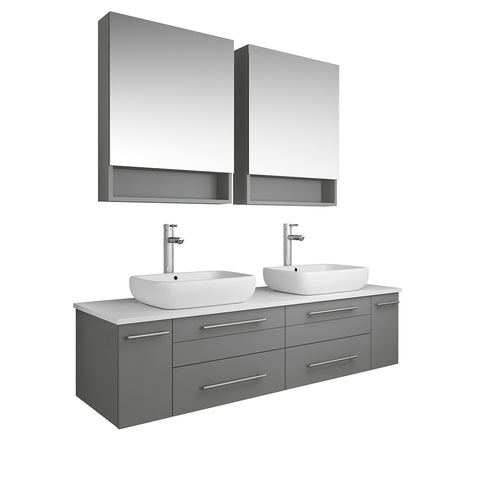 "Image of Fresca Lucera 60"" Gray Wall Hung Double Vessel Sink Modern Bathroom Vanity w/ Medicine Cabinets"