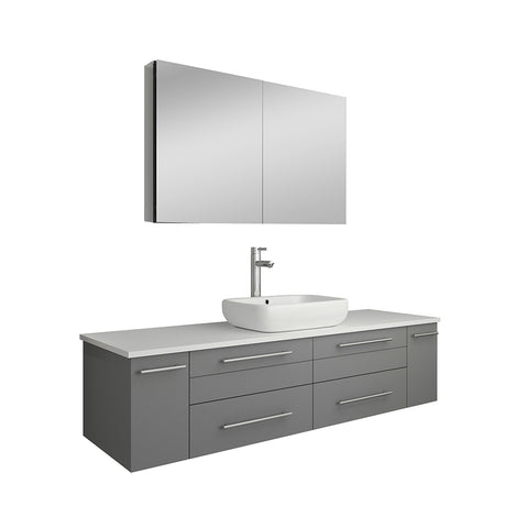 "Fresca Lucera 60"" Gray Wall Hung Single Vessel Sink Modern Bathroom Vanity w/ Medicine Cabinet"