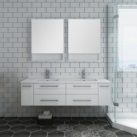 "Fresca Lucera 60"" White Wall Hung Double Undermount Sink Modern Bathroom Vanity w/ Medicine Cabinets"
