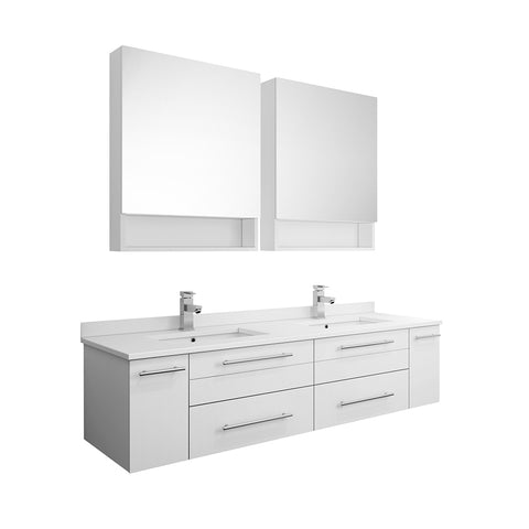 "Image of Fresca Lucera 60"" White Wall Hung Double Undermount Sink Modern Bathroom Vanity w/ Medicine Cabinets"