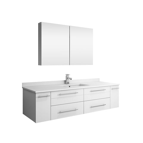 "Fresca Lucera 60"" White Wall Hung Single Undermount Sink Modern Bathroom Vanity w/ Medicine Cabinet"